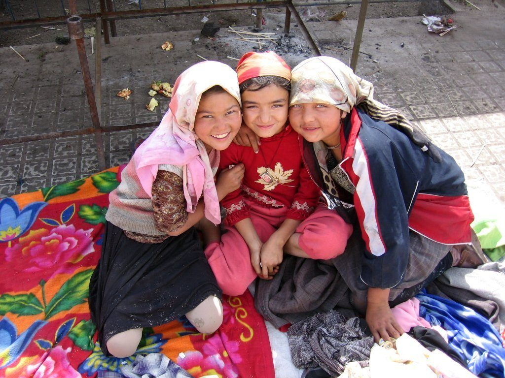 Uyghur girls at a Khotan Market